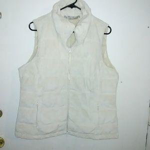 Women's Athleta faux fur goose down vest.